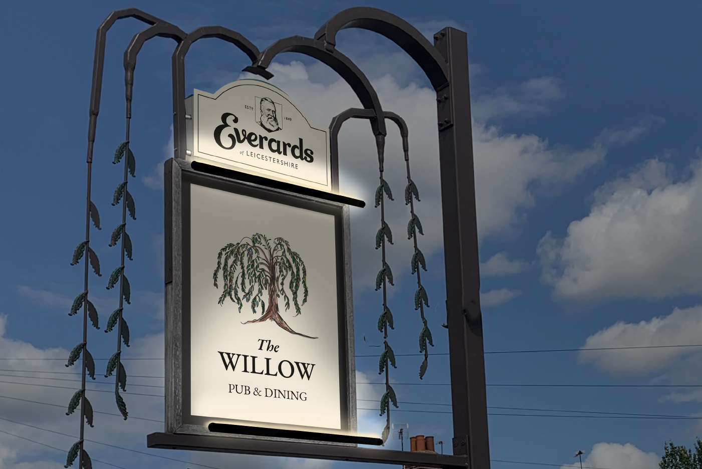 Everards pub signage Marketing design