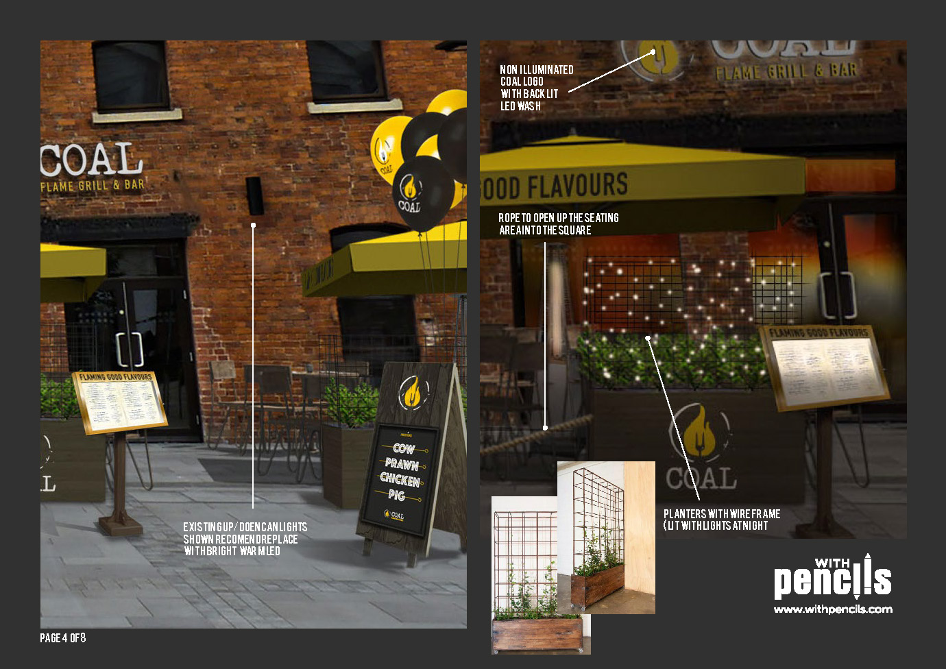 PROJECTS Logo, Signage, Planning Elevations, Branding, POS and Menus CLIENT Charterhouse Leisure ltd – Coal Grill & Bar ABOUT Branding refresh for the successful grill concept with many retail centre and stand alone units. We are designing New signage/externals, logos, menus …